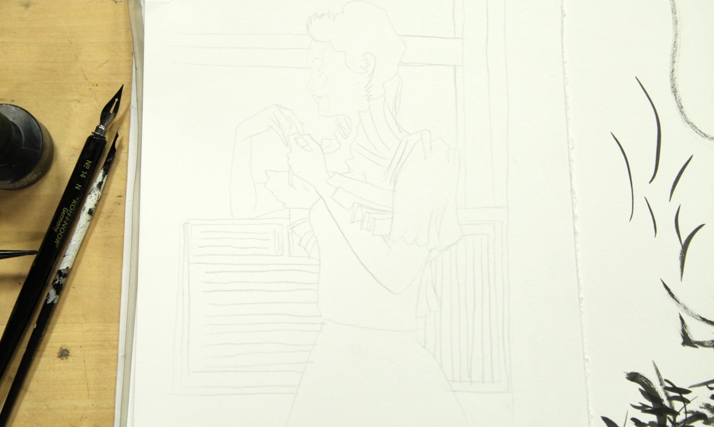 sketch of woman in pencil