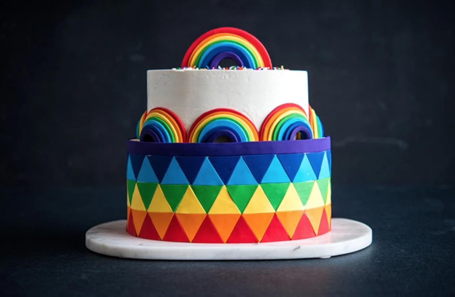 tiered rainbow cake