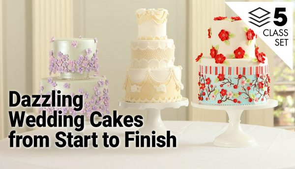Three decorated wedding cakes