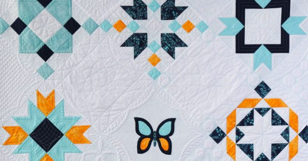 Quilt with various geometric shapes