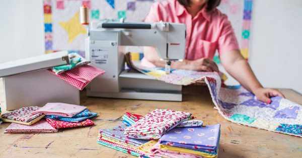 Quilting together fabric squares