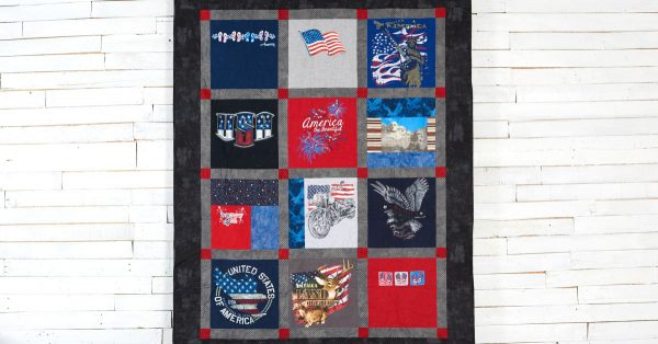 T shirt quilt with red and blue shirts