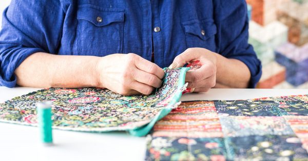 Sewing colorful fabric borders