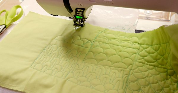 Quilting thread patterns with green thread