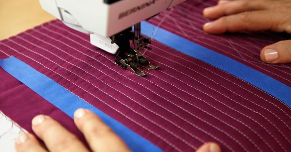 Sewing lines with a walking foot