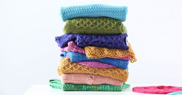 Stack of crochet projects