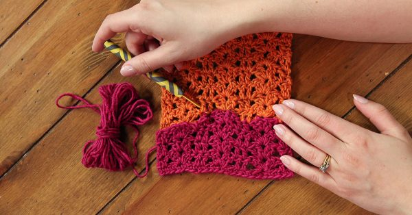 Crocheting a rectangle with pink and orange yarn