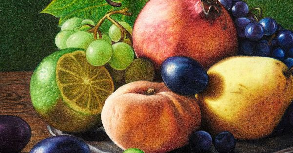 Colored pencil drawing of fruit