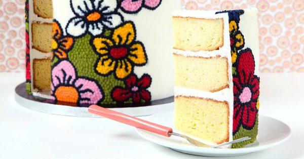 Slice of buttercream cake