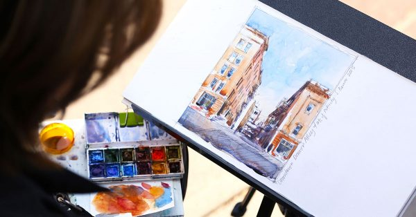 Sketching of a street perspective