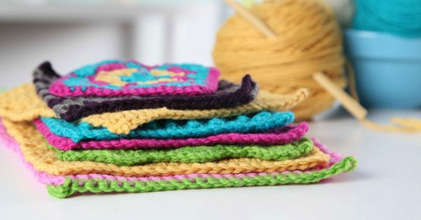 Pile of crochet squares