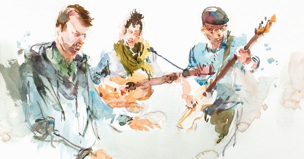 Sketching of a band playing