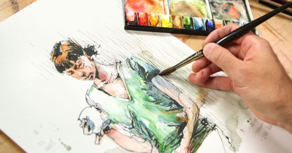Painting a watercolor woman