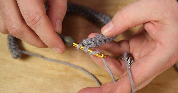 Crocheting with grey yarn