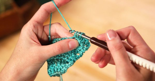 Crocheting with aqua yarn