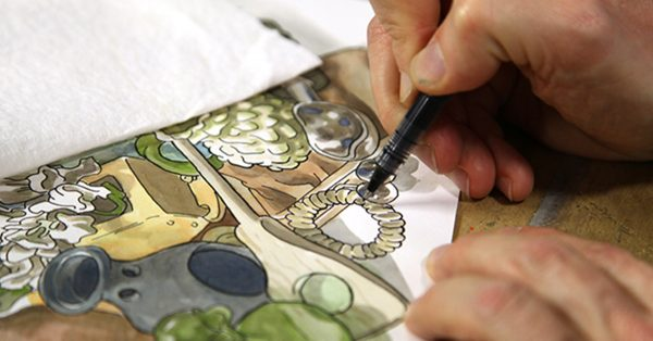 Ink drawing a picture