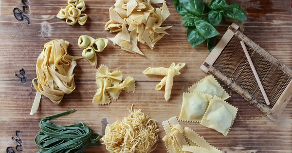 Variety of pasta shapes