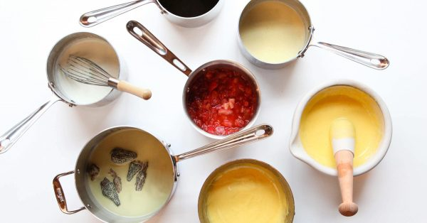 Variety of bowls of sauces