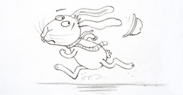 Sketch of a cartoon rabbit running