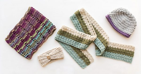 Knit headband, scarf, hat and square