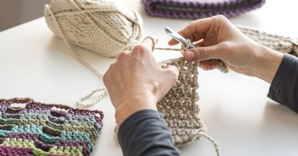 Knitting a taupe colored square