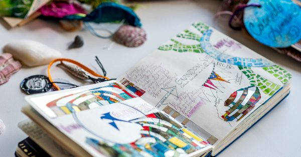 Sketchbook open to drawing