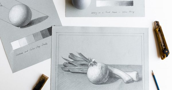 Black and white sketch of produce