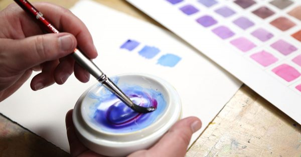 Mixing blue and purple water colors