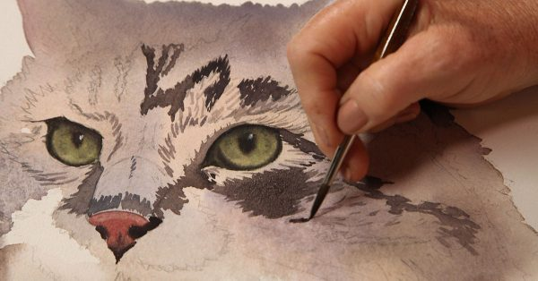 Painting cat fur with watercolor
