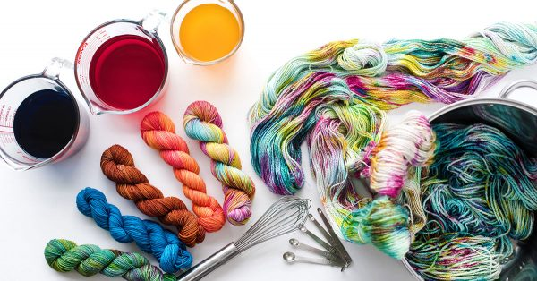 Variety of colorful dyed yarn