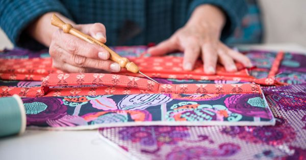 Using a needle on colorful fabric