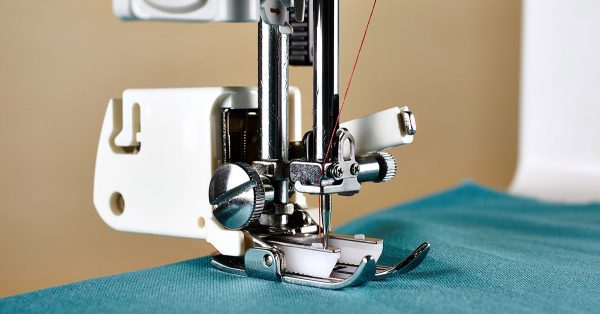 Close up of a sewing machine foot