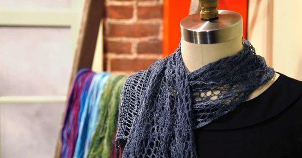 Lace knit blue scarf
