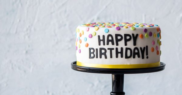 Cake decorated with Happy Birthday and polka dots