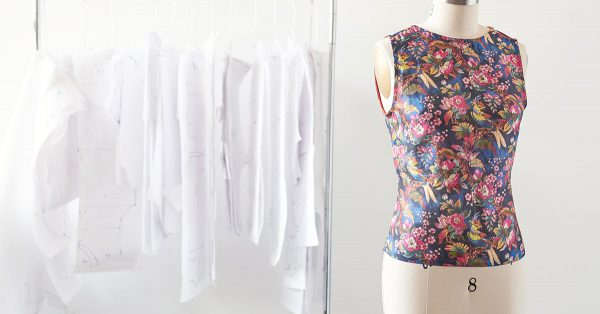 Flower patterned shirt on a form