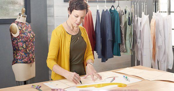 Woman tracing a pattern