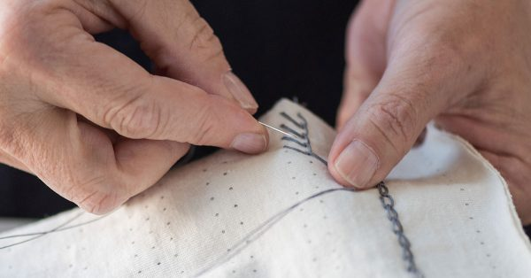 Embroidering with grey thread