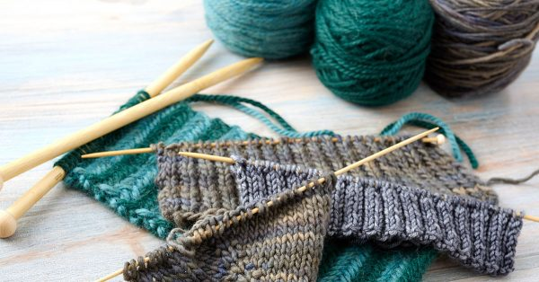Knitting project with yarn