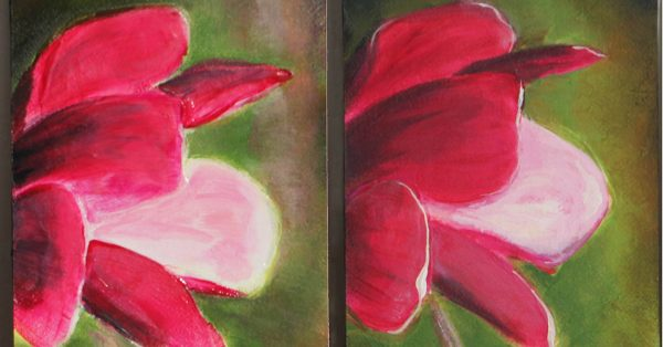 Red flower acrylic painting