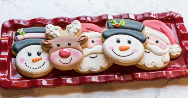 Plate of Christmas decorated cookies