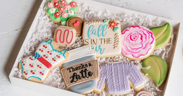 Box of decorated cookies