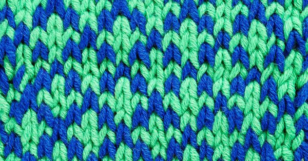 Green and blue brioche knitting