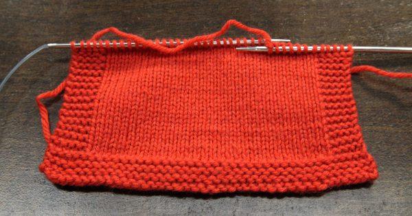 Orange brioche knitting square