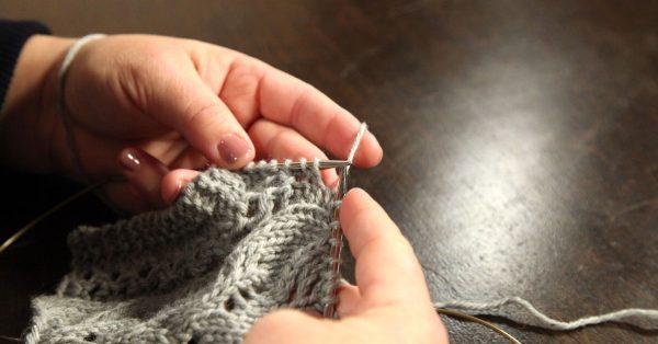 Knitting with grey yarn
