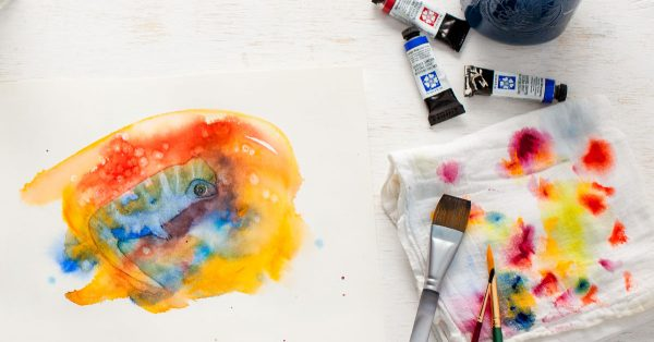Colorful watercolor painting
