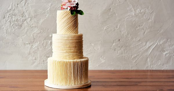 Cake decorated with buttercream lines