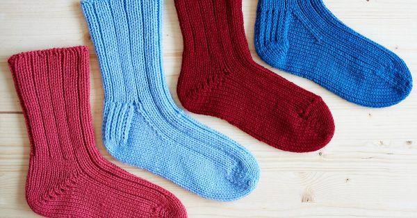 Four different color knit socks