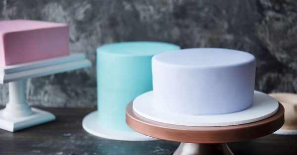 Three different shape fondant covered cakes