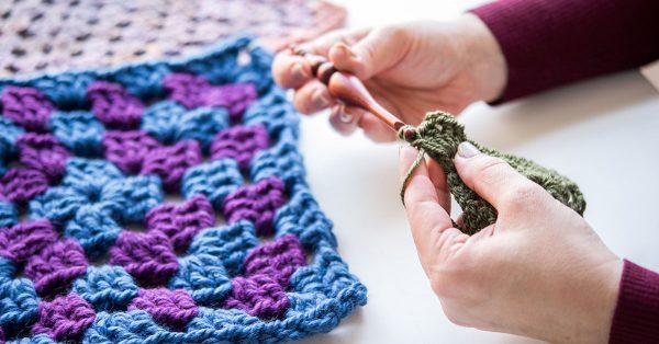Crocheting with green yarn