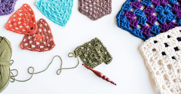 Various shapes of knit squares